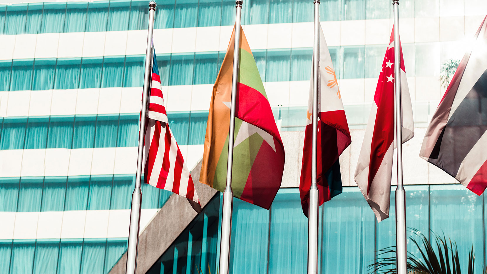 Flags in front of building