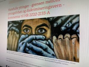 Faksimile juridika.no NIMs artikkel om hatefulle ytringer
