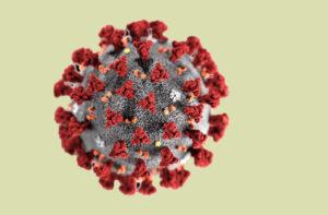 3D-datamodell av koronavirus på lys grunn bakgrunn.